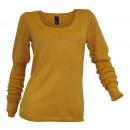 wholesale Pullover & Sweatshirts: Fine knit sweater senfgelb