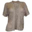 wholesale Pullover & Sweatshirts: Häkeljacke beige Crochet Cardigan