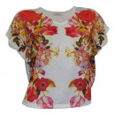 wholesale Shirts & Tops: Short Shirt  flowers cream colored shirt wide