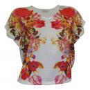 Short Shirt  flowers cream colored shirt wide