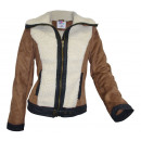 Winter jacket  lambskin suede  optics brown wool ...