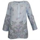 Großhandel Hemden & Blusen: Tunika Druck Bluse hellblau bunt