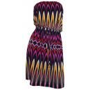 Großhandel Kleider: Minikleid schwarz  fuchsia Bandeau Kleid