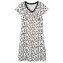 wholesale Nightwear: Ladies nightgown  Sleep Shirt white black calf leng