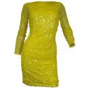 Großhandel Fashion & Accessoires: Pailletten Kleid  Cocktailkleid langarm gelb