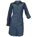 wholesale Shirts & Blouses: Jean Dress Blue  long sleeve shirt dress blouse