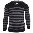 wholesale Pullover & Sweatshirts: Men's Hooded  Sweater black gray stripes