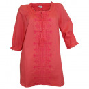 wholesale Shirts & Blouses: Tunic blouse with embroidery coral