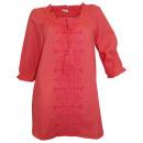 Großhandel Hemden & Blusen: Tunika Bluse mit Stickerei koralle