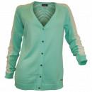 Großhandel Pullover & Sweatshirts: Leichte  Strickjacke Damen  aqua Lochmuster ...