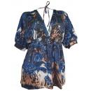 Großhandel Shirts & Tops: Mandarin Paisley Tunika blau braun