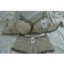 Großhandel Erotik Bekleidung: Dessous BH Set  vertraeumte Blumen Panty B creme