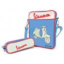 Großhandel Handtaschen: Vespa Umhängetasche mit Mäppchen Blau VPSD12
