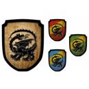 Holz Wappenschild Drache ca. 35 cm