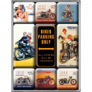 Großhandel Magnete: Magnet Set 9 tlg. Biker Parking Only