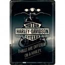 Großhandel Glückwunschkarten: Blechpostkarte Harley - Davidson 10 x 14cm
