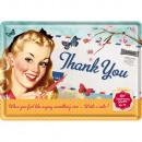 Großhandel Glückwunschkarten: Blechpostkarte Thank You Girl 10 x 14cm
