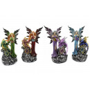 Großhandel Figuren & Skulpturen: Elfe stehend mit Drache auf Felsen mit Licht