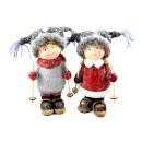 mayorista Gadgets y recuerdos: Cerámica niño y niña 23.5cm con esquís
