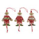 wholesale Toys: Wooden jumping jack Christmas bear 13cm