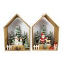 Drewniany dom Święty Mikołaj / bałwan z wiszącym ś