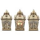 wholesale Wind Lights & Lanterns: Lantern woodcut 11cm with light