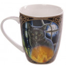 Porcelain cup  Witches Cat Lisa Parker