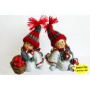 grossiste Figurines & Sclulptures: fille Poly avec de  la laine rouge et gris bouchon