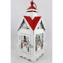 wholesale Wind Lights & Lanterns: Metal lantern 30cm house snowman