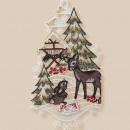 Großhandel Bilder & Rahmen: Plauener Stick Reh  Fensterbild 29cm Weihnachten