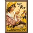 Blechpostkarte Bier 10 x 14cm