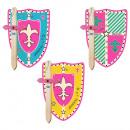 Großhandel Holzspielzeug: 2er Set Prinzessin klein Holz Schwert + Schild