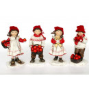 groothandel Kunstbloemen: Jongen en meisje  met een rode wollen muts 20cm