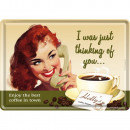 Großhandel Glückwunschkarten:BlechpostkarteThink ing of You10 x 14cm