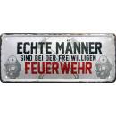 Großhandel Bilder & Rahmen: Blechschild Echte Männer Feuerwehr 28x12cm