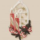 Plauener Stick Kerzen Fensterbild 27cm Weihnachten
