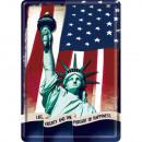 Großhandel Geschenkartikel & Papeterie: Blechpostkarte  Statue of Liberty 10 x 14cm