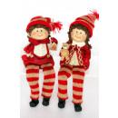 Großhandel Windlichter & Laternen: Junge und Mädchen  mit beige-roter Wollmütze 19cm