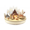 wholesale Toys: Wooden clock 16x21cm to wind up Silent night