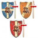 Großhandel Holzspielzeug: 2er Set Templer klein Holz Schwert + Schild