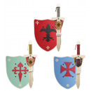 wholesale Wooden Toys: Set of 3 wooden sword + shield + sword holder