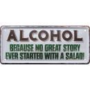 Cartel de chapa alcohol 28x12cm