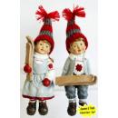 grossiste Figurines & Sclulptures: Poly Kantenhocker  garçon et une fille avec des ski