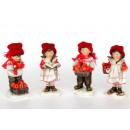 groothandel Kunstbloemen: Jongen en meisje  met een rode wollen muts 11.5cm
