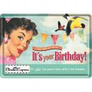 Großhandel Glückwunschkarten: Blechpostkarte Happy Birthday 10 x 14cm