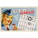 Kalender - Blechschild On Diet 20 x 30cm