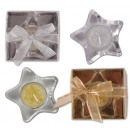 Tealight holder glass star with tealight glitter