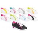 Großhandel Schuhe: Damen Trend Sneaker Trend Metallic Look Schnür