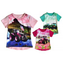 Kids Girl Trend T-Shirt Tractor Flowers 2-12