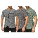 Herren Men Kurzarm  Meliert T-Shirts Rundhals